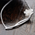 Elegant Lotus Flower 925 Sterling Silver Necklaces & Pendants For Women Fashion Hypoallergenic Sterling Silver Jewelry