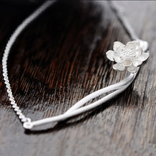 Elegant Lotus Flower 925 Sterling Silver Necklaces & Pendants For Ladies Style Hypoallergenic Sterling Silver Jewellery