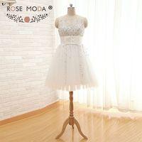 Chic Sleeveless Ivory Short Wedding Dress Fully Hand Beaded Corset Sheer Back Knee Length Reception Dress