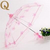 2017 de laatste Kant Paraplu dame rechte staaf paraplu voor bruiloft fotoshoot props roze transparante mooie LACE PARASOL