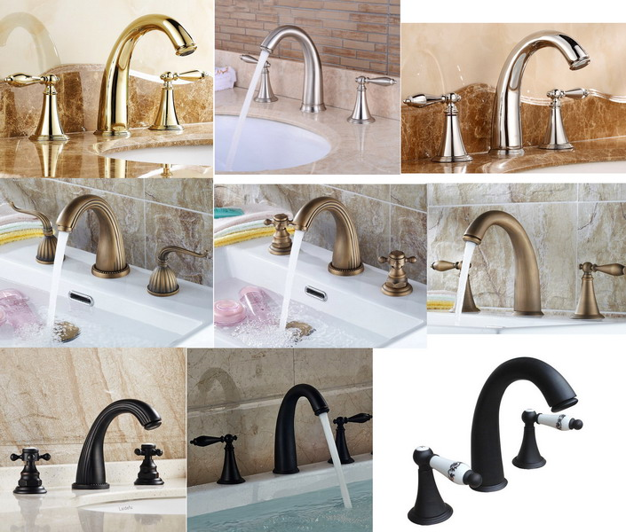 Ten style optional 3-hole Widespread Deck Mounted Bathroom Faucet Wash Basin Mixer Sink Tap Brass Finish Bathtub Faucets jw002Ten style optional 3-hole Widespread Deck Mounted Bathroom Faucet Wash Basin Mixer Sink Tap Brass Finish Bathtub Faucets jw002