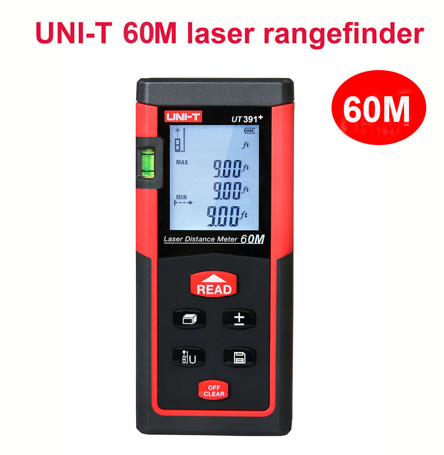 UNI-T UT391+ laser distance meter gauge 60M laser rangefinder digital level bubble laser Range Finder Distance Area volume test