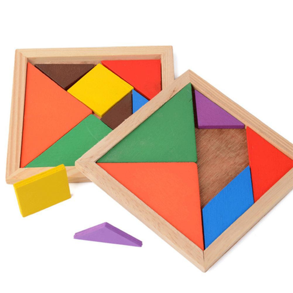 Colorful Wooden Jigsaw Puzzle Toy Sorting Nesting Kid Brain Traning Mental Development Tangram Educational Toy For Kids
