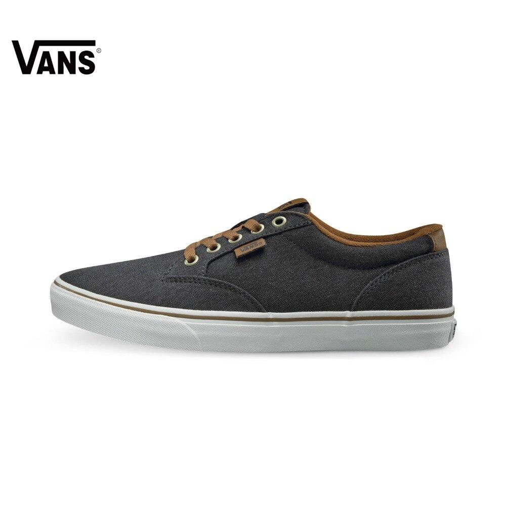 Original  Vans Black and Brown Color Low-Top Men's Skateboarding Shoes Sport Shoes Sneakers original vans black and blue gray and red color low top men s skateboarding shoes sport shoes sneakers