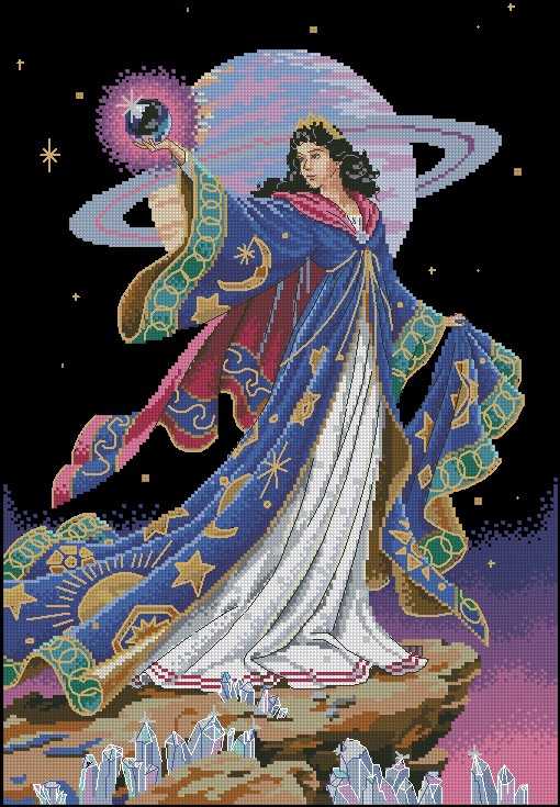 Top Quality Beautiful Lovely Counted Cross Stitch Kit Alluring Sorceress Earth Universe Fairy at Night dim 7242 image