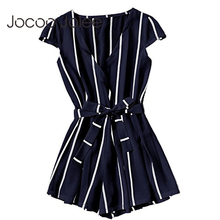 Joloo Jolee Sexy Vertical Striped Jumpsuit Romper Women Fashion Cross V Neck Overalls Casual Beach Belt
