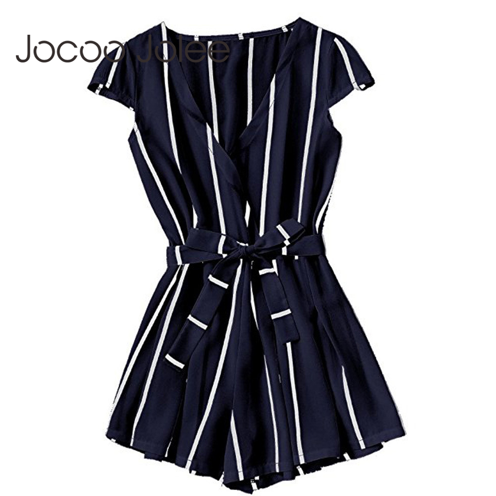 Joloo Jolee Sexy Vertical Striped Jumpsuit Romper Women Fashion Cross V Neck Overalls Casual Beach Belt Beach Playsuit 2018