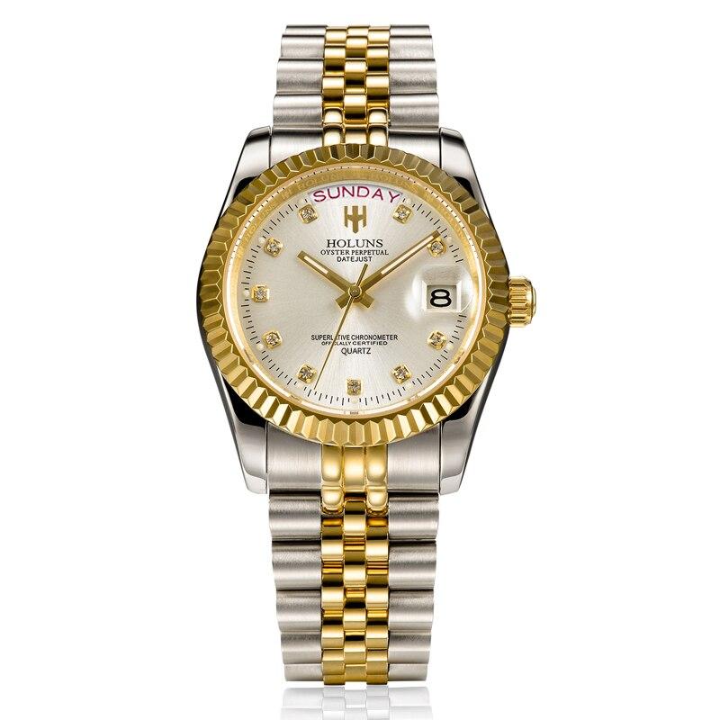 Mens relojes de lujo superior de la marca negocio clásico de cuarzo de oro de acero inoxidable calendario reloj impermeable relogio masculino - 2
