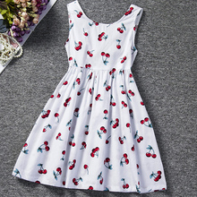 AmzBarley Girls summer clothes Cherry Printing Casual Dress children Birthday party outfits toddler sleeveless Cotton dresses