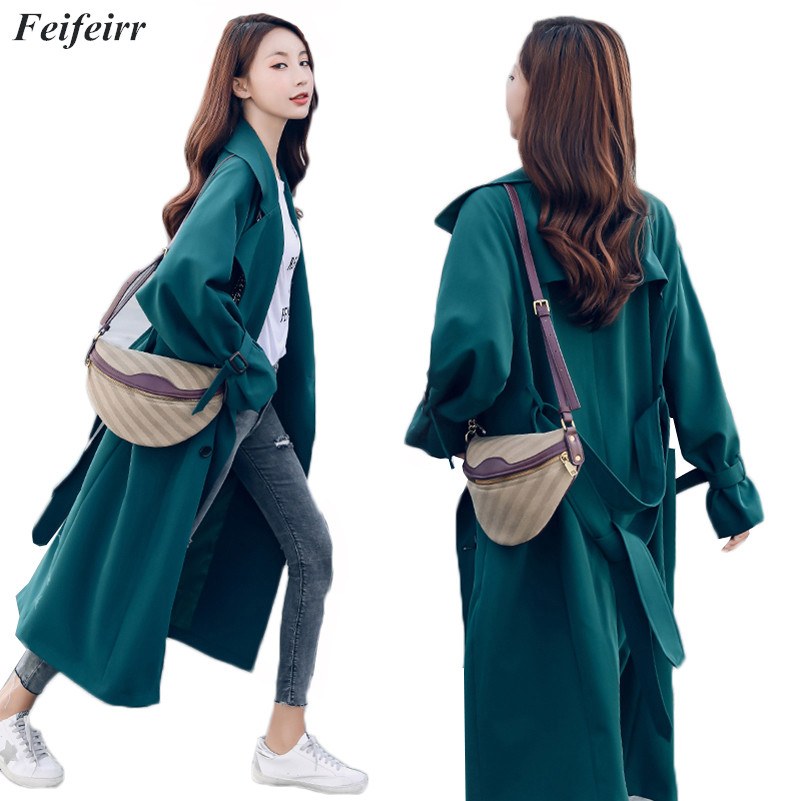 Abrigos Spring Autumn 2019 Korean Fashion double-breasted simple elegant   Trench   Coat Mujer temperament Belt casual long coat