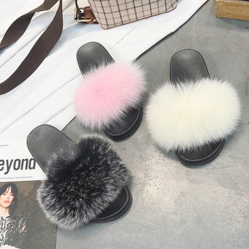 Gladiator Sandals Slides Pompon Flip-Flops Designer Woman Fur Warm Mujer Soft Cozy Furry