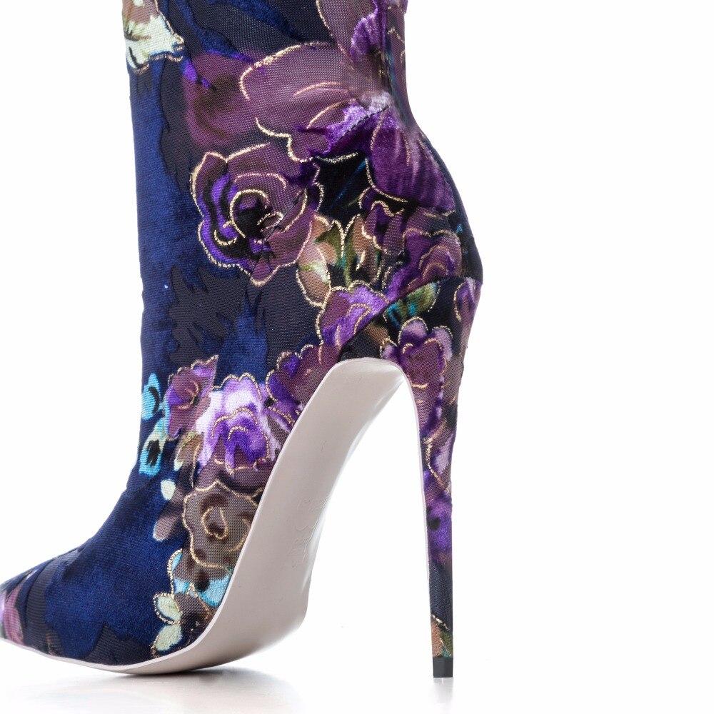 أردن Furtado 2018 الربيع الخريف عالية الكعب 12 سنتيمتر الأزياء الزهور الأحذية للمرأة أنحاء الركبة تمتد الأحذية الخناجر كبير حجم-في أحذية فوق الركبة من أحذية على  مجموعة 2