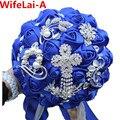 Роскошные Невеста Букет Синий Брошь Кристалл buque де noiva Свадебный Букет де Mariage Полиэстер Свадебные Букеты W235
