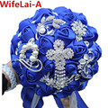 Luxury Bride Flower Bouquet Royal Blue Brooch Crystal buque de noiva Wedding Bouquet de Mariage Polyester Bridal Bouquets W235