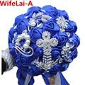 Novia de lujo Ramo de Flores Ramo De La Boda Real Azul de Cristal Broche buque de noiva Robe de Mariage de Poliéster Ramos Nupciales W235