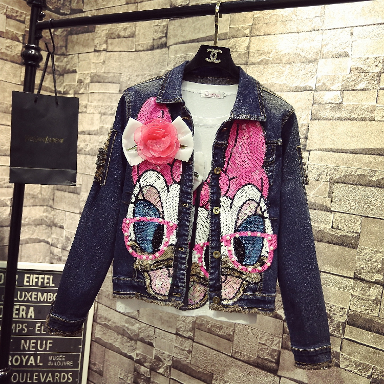 2019 mode perle rose Sequin à manches longues Jeans Cowboy manteau pardessus étudiants court Denim veste manteaux printemps hiver femmes