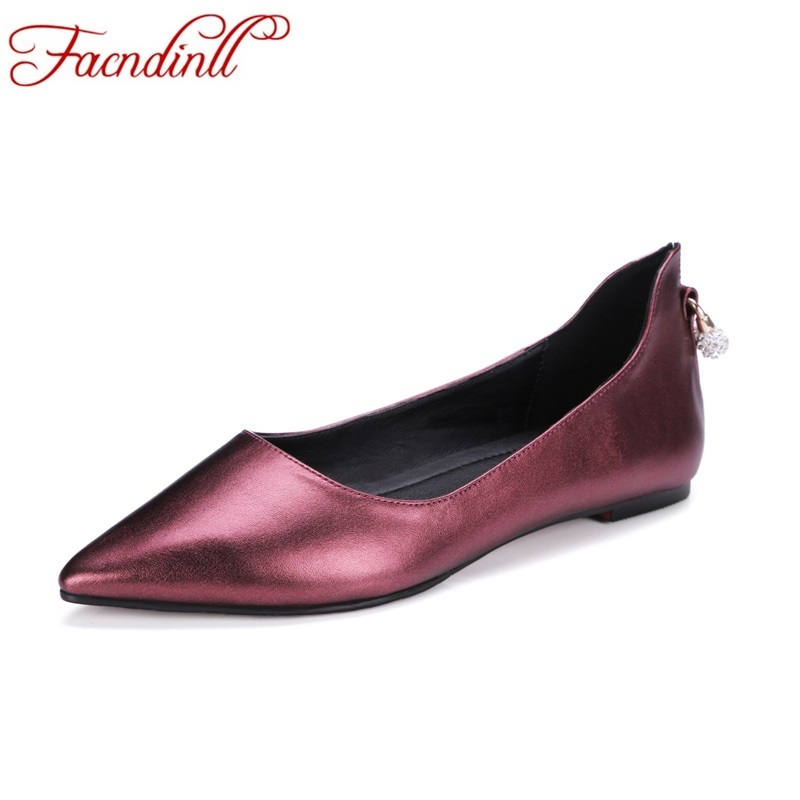 brand design spring summer women shoes real leather flats fashion pointed toe flat heel ballet shoes woman casual dress shoes new 2017 spring summer women shoes pointed toe high quality brand fashion womens flats ladies plus size 41 sweet flock t179