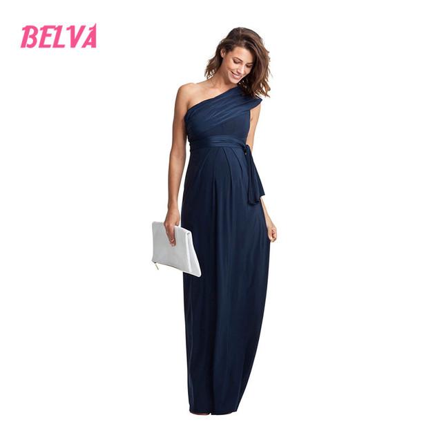 Belva oblíqua de um ombro longo de fibra de bambu das mulheres vestidos de maternidade vestidos de noite gravidez dress fotografia dr241