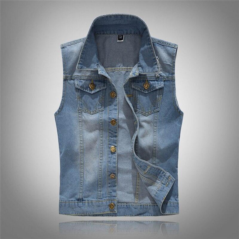 2019 Men's Sleeveless Cotton Denim Vest Male Fashion Spring Autumn 80s Vintage Jackets Hole Jeans Brand Top Waistcoat 6XL