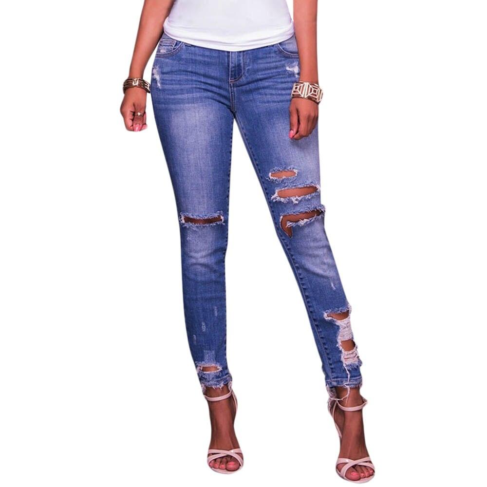 ヾ(^ ^)ノ2017 Vintage Hole Ripped ⊱ Jeans Jeans Women Pencil ...