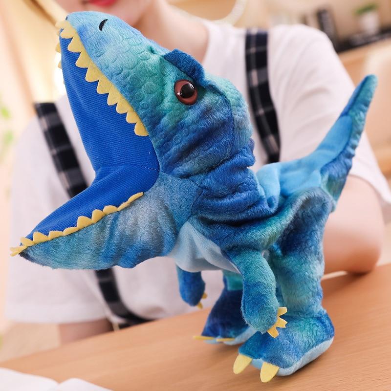 Nova 1 pc 30 centímetros Bonito Carton Animal Fantoche de Mão Brinquedos de Pelúcia Bonecos de Dinossauro Kawaii Boneca para o Bebê do Aniversário Dos Miúdos presente para As Crianças