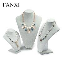 Fanxi серебристо-серый Jewellery бюст Дисплей завернутый со льдом бархата Подставка для ювелирных Цепочки и ожерелья/кулон Дисплей счетчик толков...