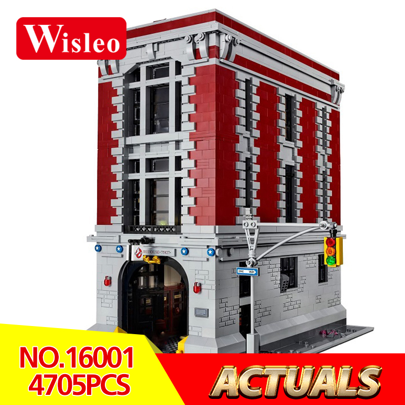 New 16001 4705Pcs Ghostbusters Firehouse Headquarters brinquedos Model set Building Kits Model Compatible LegoINGlys 75827 4695pcs lepin 16001 city series firehouse headquarters house model building blocks compatible 75827 architecture toy to children