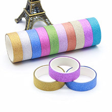 Stickers Craft-Paper Scrapbooking Glitter Straight Greeting-Card-Decorations 10pcs Tape