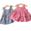 Baby Girls Summer Dress 2016 Sleeveless Plaid Princess Vest Dress Kids Clothing For Sale Toddler Girl Dresses Vestido 2-7 Years