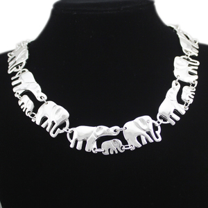 African Elephant Baby Link Hindu Ganesh Chain Collar Choker Colar Statement Chain Necklace Anime Men Boho Jewelry Gold Silver(China)