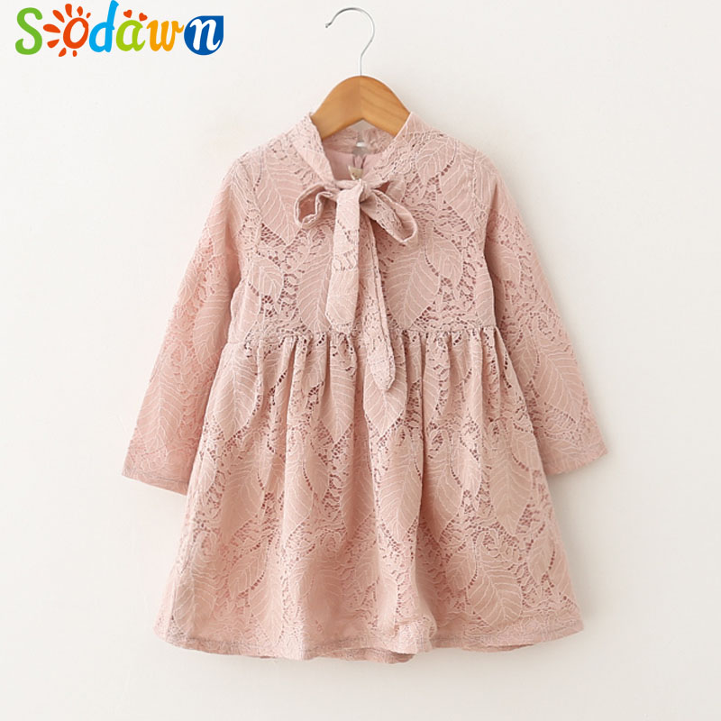 Sodawn 2018 Spring New Children Clohting Brand Neck Lace Bow Design Lace Fashion Princess Dress Baby Girls Dress Girls Clothes