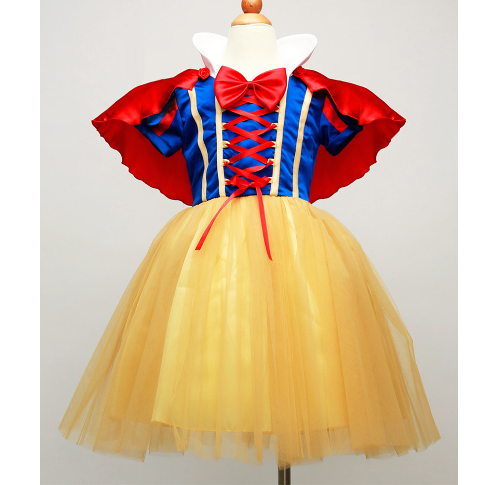 Hot Princess Snow White cosplay kostym ungar snygg klänning med cape party performane kostymer för tjej