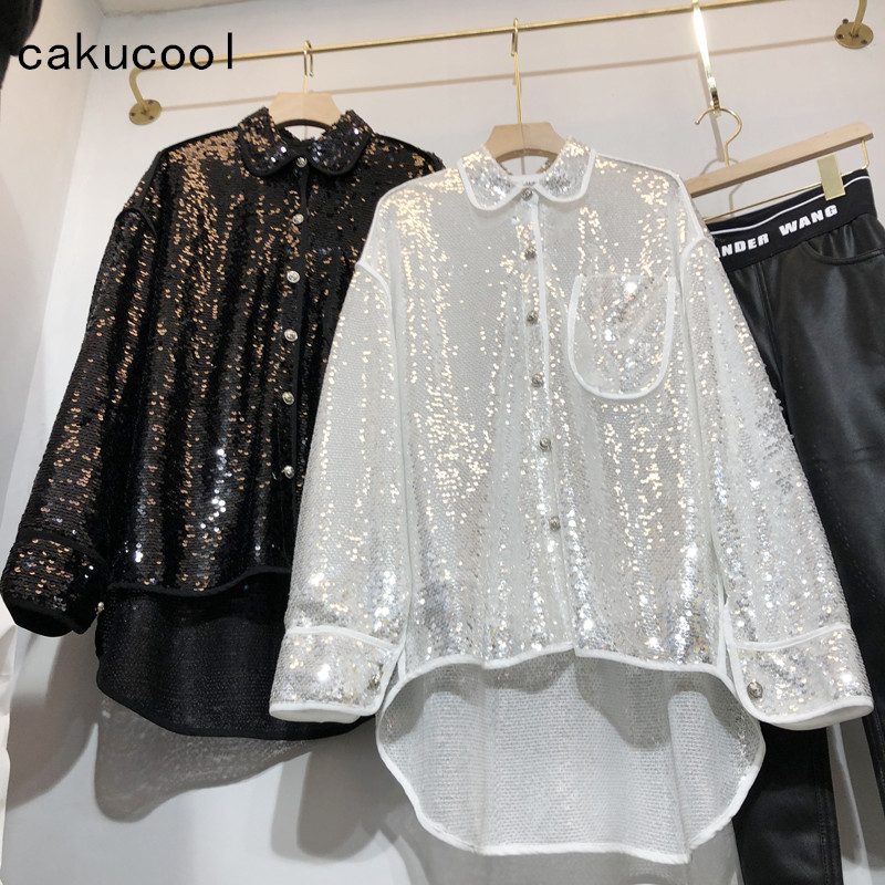 Cakucool 2019 kobiety Bling cekinami bluzka wiosna z długim rękawem lalka kołnierz luksusowe przodu krótki powrót długi Blusa Chic luźne bluzki w Bluzki i koszule od Odzież damska na  Grupa 1