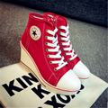 2016 fashion Wedges canvas shoes Female 8 centimeters tall with han edition zipper lace-up casual women's shoes35-41