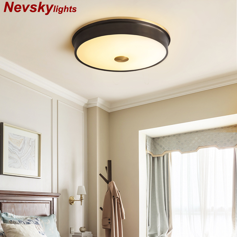 LED Round Ceiling Lights American Style Ceiling Mounted Lamp For Bedroom Dining Living Room loft copper Kitchen Lighting FixtureLED Round Ceiling Lights American Style Ceiling Mounted Lamp For Bedroom Dining Living Room loft copper Kitchen Lighting Fixture