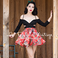 FREE SHIPPING Le Palais Vintage 2016 Summer New Arrival Sexy PIN UP Low Cut V Neck Hollow Out apless Splice Tutu Dress Women