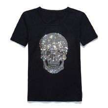 Homens shinning crânio perfuração quente t camisa de algodão preto manga curta alta qualidade strass crânio t camisa topo roupas moda