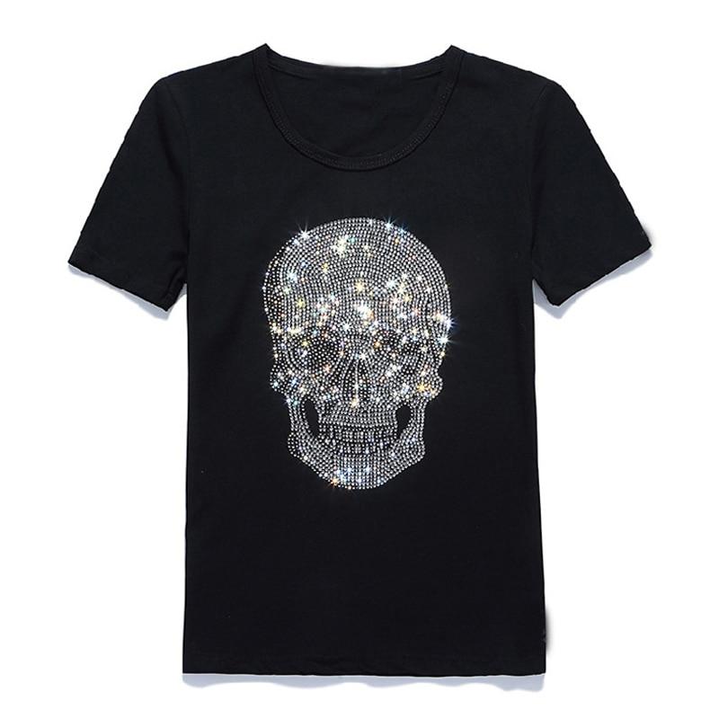 Hommes Shinning crâne forage chaud T-Shirt noir coton à manches courtes de haute qualité strass crâne T petit haut T-shirt de mode