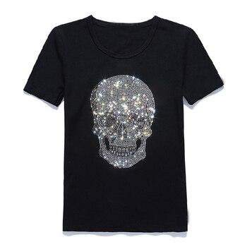 Mens Shinning Skull Hot Drilling T-Shirt Black Cotton Short Sleeve High Quality Rhinestone Skull T Shirt Top Tee Fashion T-shirt