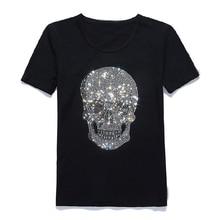 メンズ輝く頭蓋骨ホット掘削tシャツ黒綿半袖高品質ラインストーンスカルtシャツトップtシャツファッション服