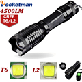 LED Flashlight 4500LM CREE L2 / 4000Lumens CREE T6 LED torch Zoomable Torche lantern zaklamp taschenlampe torcia Flashlight ZK93