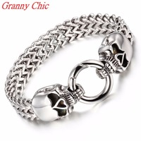 Granny Chic New Box Figaro Link Silver Color Stainless Steel Skull Clasp Bracelet Mens Chain Boys Wholesale Drop Ship Jewelry