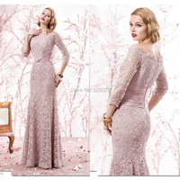 YNQNFS MD96 Elegant Boat Neck 3/4 Sleeves Mermaid Groom/Bride's Mother Party Gowns Lace Mother of the Bride Dresses 2018