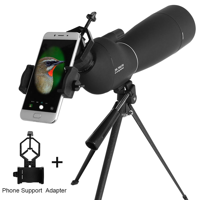 25-75X70 Zoom Spotting Scope with Tripod & Universal Smart Phone Holder Birdwatching Hunting High Power Monocular Telescope universal 8x zoom optical lens adjustable telescope with tripod for samusng iphone sony
