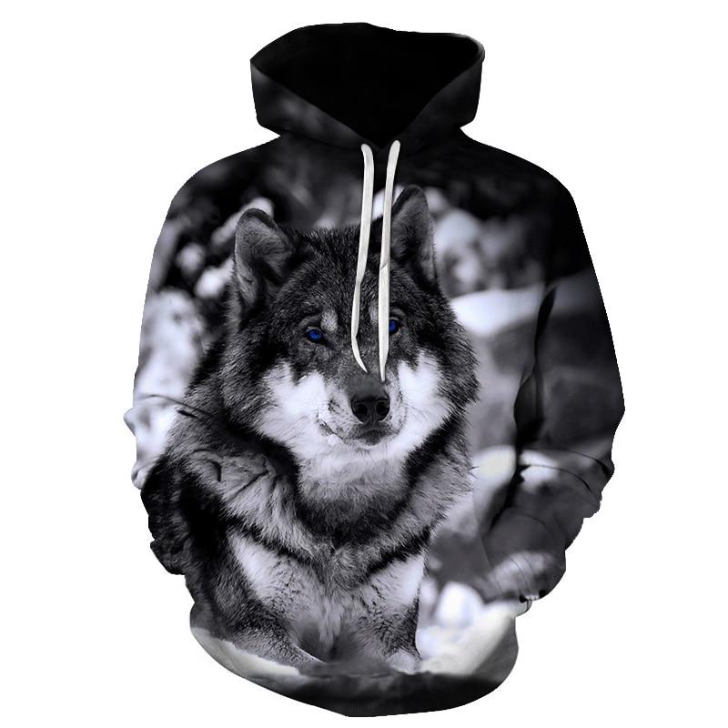 3D Print Wolf Womens Mens Sweatshirts Thin Hoody Hoodie Animal Pullover Tops