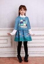Мода брэд осень платья печать добби хлопок платья для девочек малыш платье