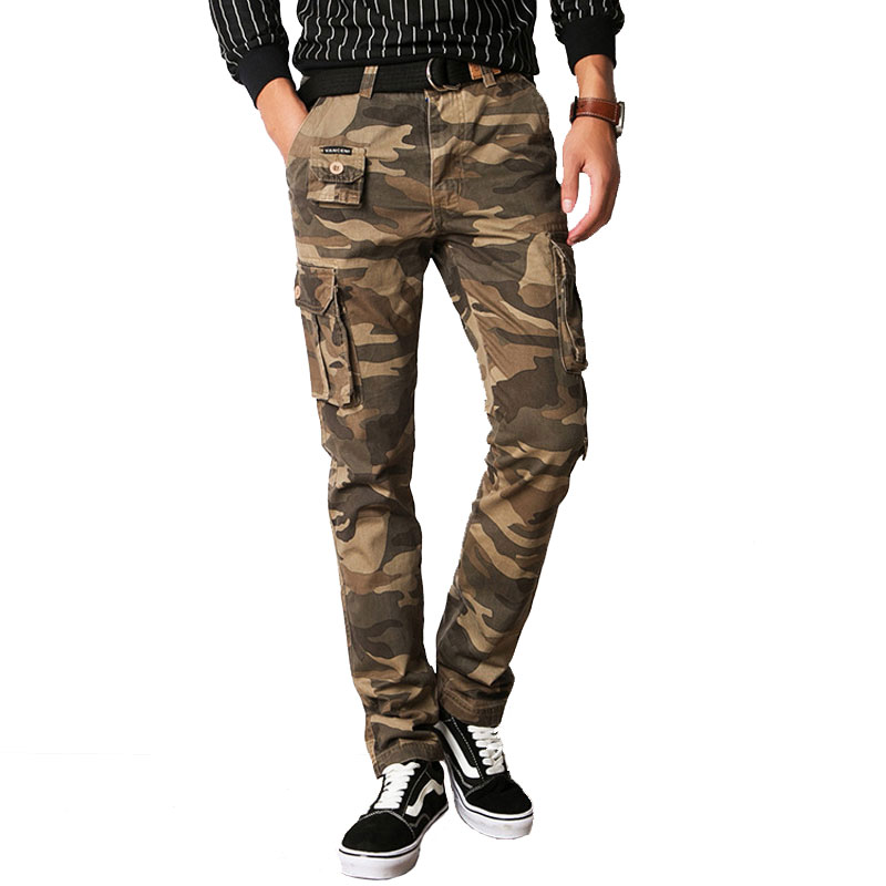 Fashion Camouflage Cargo Pants Men Silm Casual Pants Military Tactical SWAT Trousers Multi Pocke Camo Cotton joggers Pants