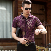 Sexy Silk Velvet Short Sleeve Transparent Shirt See Through Lace Shirt Burn Out Mesh Sexy Prom Marriage Event Shirt Puls size