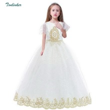 Palace Formal Kids Girl Dress Evening Party Prom Ball Gown White Embroidery Bow Girls Dress Children Pageant Clothes Vestido стоимость