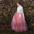 Encuadre de cuerpo entero Rosa Rosa de Tul Faldas Más El Tamaño Faldas de Ballet Tutú Faldas Largas Con Cinta Fajas de dama de Honor Vestido de Boda de La Falda